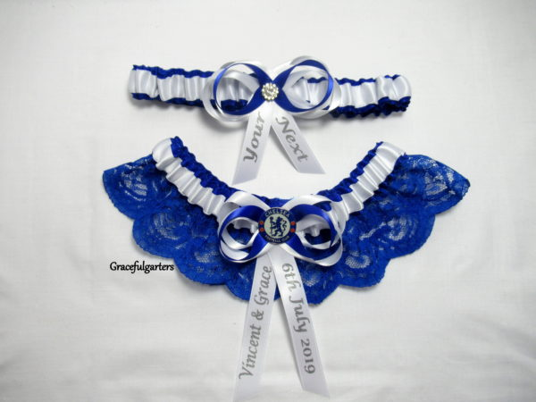 Chelsea Football Team Lace Bridal Wedding Garter Set.
