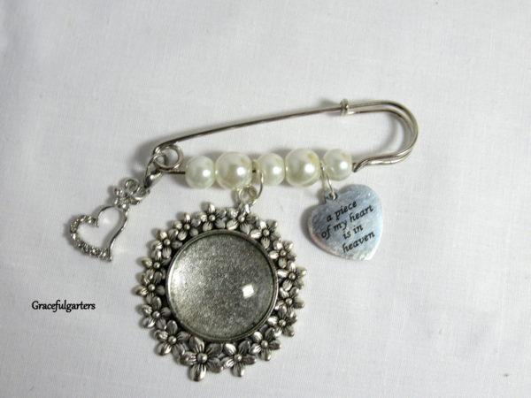 Memory Photo Charm Pin / Bridal Photo Bouquet Pin / Boutonniere Charm Pin / Wedding Memory Keepsake.