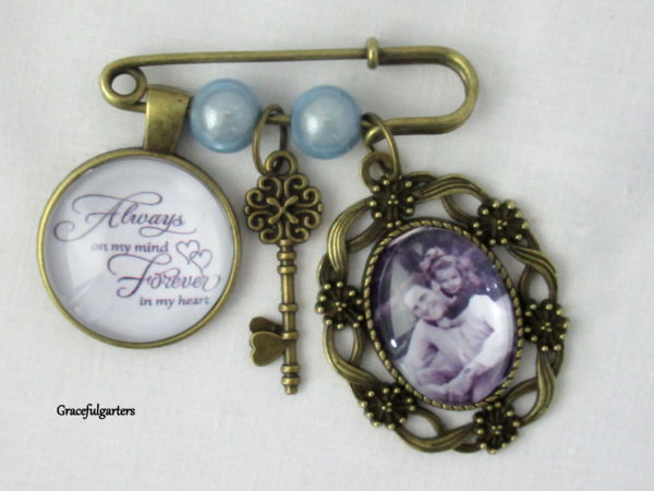 Memory Photo Charm Pin / Bridal Photo Bouquet Pin / Boutonniere Charm Pin / Wedding Memory Keepsake.