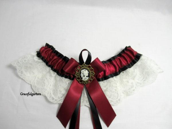 Victorian Gothic Cameo Skull Lace Bridal Wedding Garter