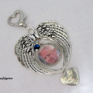 Angel Wings Memory Heaven Bouquet Charm/ Key Ring Keepsake and Pouch