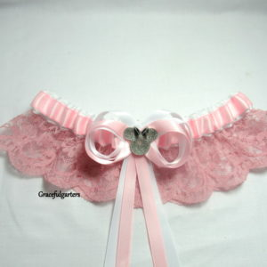 Disney Minnie Mouse Pink Lace Bridal Wedding Garter