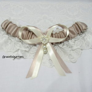 Vintage Inspired Pearl And Diamante Bridal Wedding Garter.
