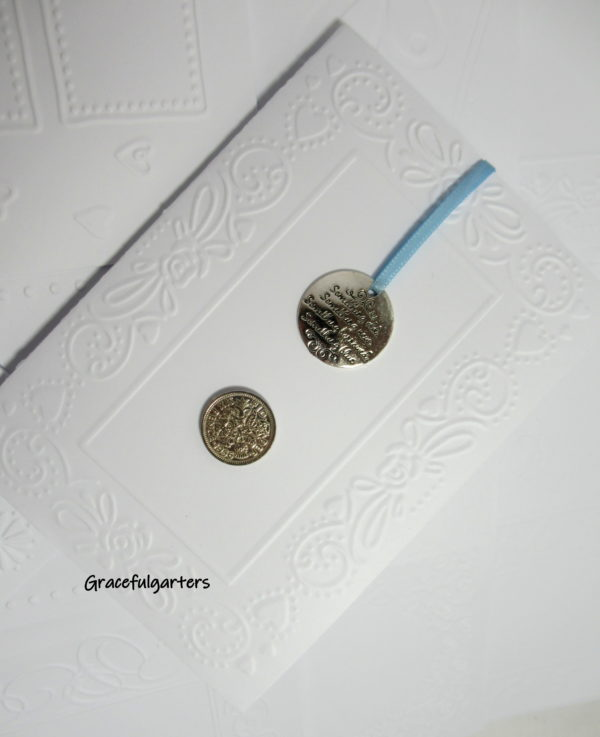 Lucky Sixpence & Charm inside Embossed Card. Something Old Something New..