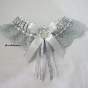 Minnie Mouse grey Lace Disney Bridal Wedding Garter