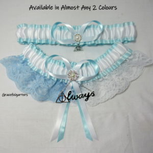 Harry Potter Deathly Hallows Always Half N Half Something Blue Lace Wedding Garter Set