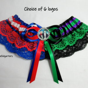 Harley Quinn And Joker Half n Half Lace Bridal Wedding Garter.